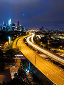 pic of petronas twin towers  - Kuala Lumpur skyline at night - JPG