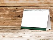 blank desk calendars on wooden table