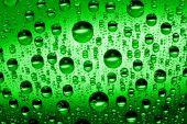macro of green water drops