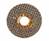 picture of abrasion  - old abrasive disk for metal and stone grinding - JPG
