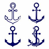 image of nautical equipment  - anchor symbols set vector  illustration - JPG