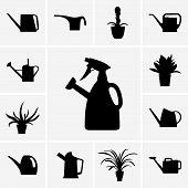 Watering cans and flowerpots