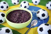 Soccer Balls and Acai on Brazilian Flag