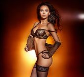 Sensual Woman Posing In Lingerie.