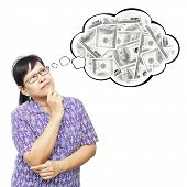 Asian Senior Woman Thinking To Money