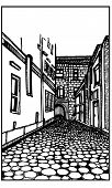 stock photo of cobblestone  - Isolated black and white vector painted illustration of a narrow village street with cobblestones - JPG