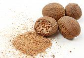 Nutmegs isolated on white background