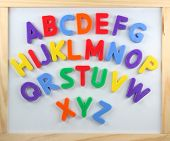 Magnet letters  on white  board