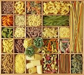 Italian pasta collection in wooden box