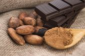 stock photo of cocoa beans  - Cocoa ( cacao ) beans with chocolate