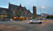 MAASTRICHT, NETHERLANDS - SEPTEMBER 7, 2013: The building of train station and bicycle parkings in e