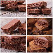 Set Of Photo Macro Porous Chocolate