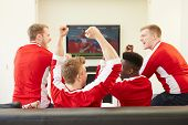 foto of indoor games  - Group Of Sports Fans Watching Game On TV At Home - JPG