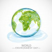 World Environment Day concept with mother earth globe on blue background.