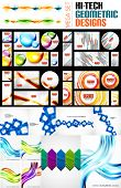 Mega collection of various abstract designs. Circles, headers, banners, wave templates, geometric shapes