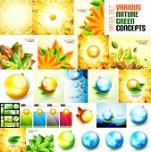 Various nature backgrounds set - autumn and summer concepts
