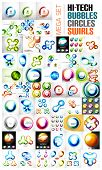 Mega collection of swirl, circle, sphere, glossy bubble concept banners.