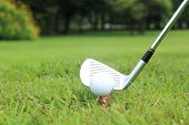 stock photo of differential  - Teeing off in a game of golf differential focus with copy space - JPG