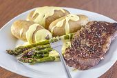 Green Asparagus With Potatoes And Beef