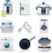 stock photo of kitchen appliance  - Set of the detailed domestic appliances icons - JPG
