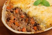 Shepherds pie in casserole dish