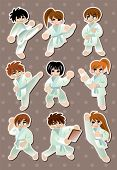 stock photo of friendship belt  - Cartoon Karate Player Stickers - JPG