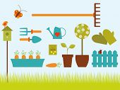 Happy Gardening Objects. Vector illustration of simple and colorful gardening objects.