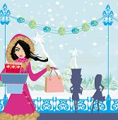Beautiful Girls On Winter Shopping