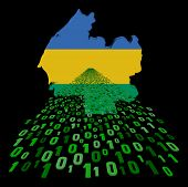 Gabon map flag with binary foreground illustration