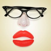 a pair of glasses, a fake nose and fake lips forming a woman face on a beige background, with a retr