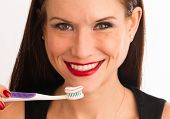 Attractive Woman Wonderful Smile Adult Female Brushing Teeth Toothbrush