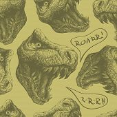 seamless doodle dinosaur pattern eps 8