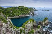 The Cove at Taiji, Wakayama, Japan. The site is known as the infamous location of the yearly dolphin drive hunt.