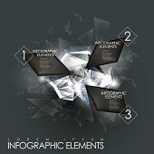 picture of gem  - 3d modern vector abstract twinkle gem infographic elements - JPG