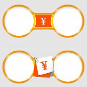 Two Circles For Text With An Yen Sign
