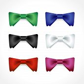 Vector set of multi-colored bow ties