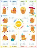 foto of august calendar  - Vector calendar 2015 with cute personages on white background - JPG