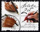 Postage Stamp Poland 2002 Hand With Pen