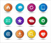 Set of colored navigation web icons