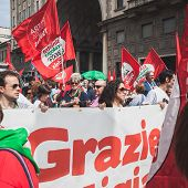People Taking Part In The Liberation Day Parade In Milan
