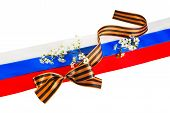 Georgievsky Tape Against Of Russian Flag
