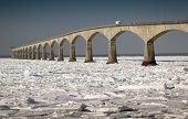 A winter view of the Confederation Bridge that links Prince Edward Island, Canada with mainland New