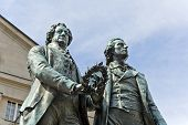 Monument of the famous writers Goethe and Schiller in Weimar, Germany
