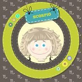 Zodiac signs collection. Cute horoscope - SCORPIO.