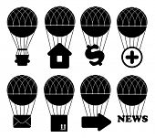 Hot air balloon icon set