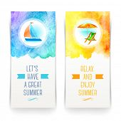 stock photo of holiday symbols  - Summer holidays and travel banners with greetings and watercolor elements  - JPG