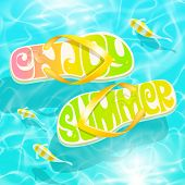 Flip-flop with summer greeting floating on water with tropical fishes - summer holidays vector desig