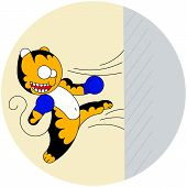 Vector cartoon cute young tiger of martial arts beats a wall