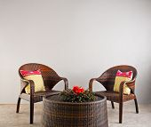 Brown Rattan Chairs And Table