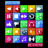 Music Player Flat Icon Long Shadow